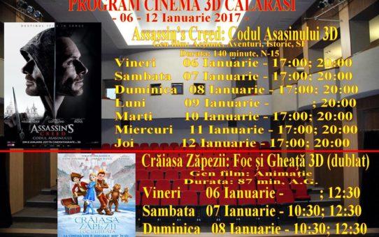 PROGRAM CINEMA 3D/2D – Perioada 06 ianuarie – 02 februarie 2017